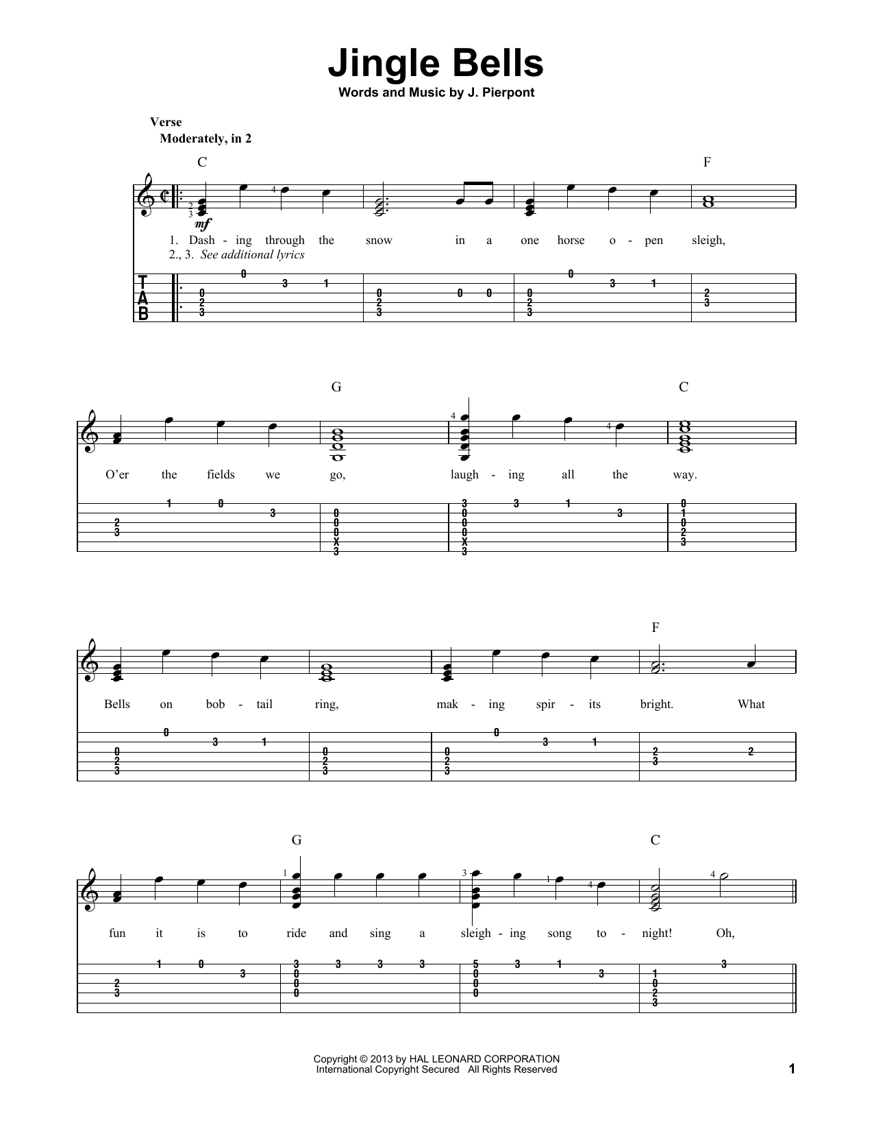 Tablature guitare Jingle Bells de J. Pierpont - Tablature Guitare