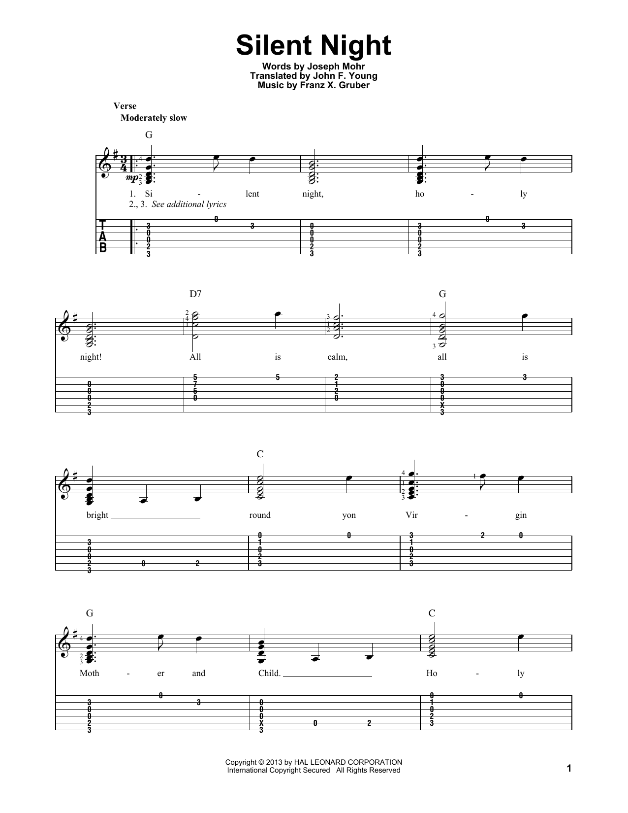 Tablature guitare Silent Night de Susan Boyle - Tablature Guitare