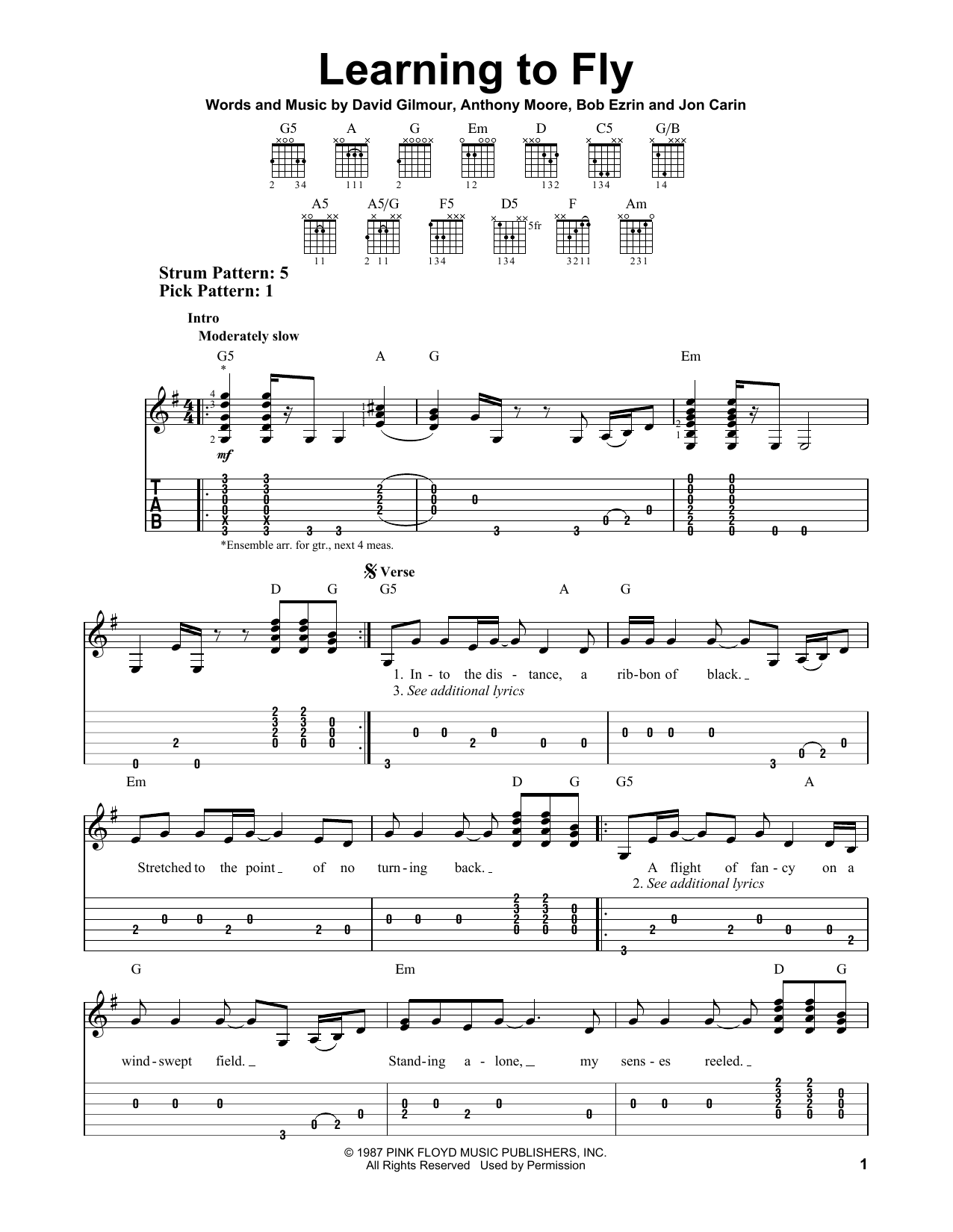 Learning To Fly Sheet Music
