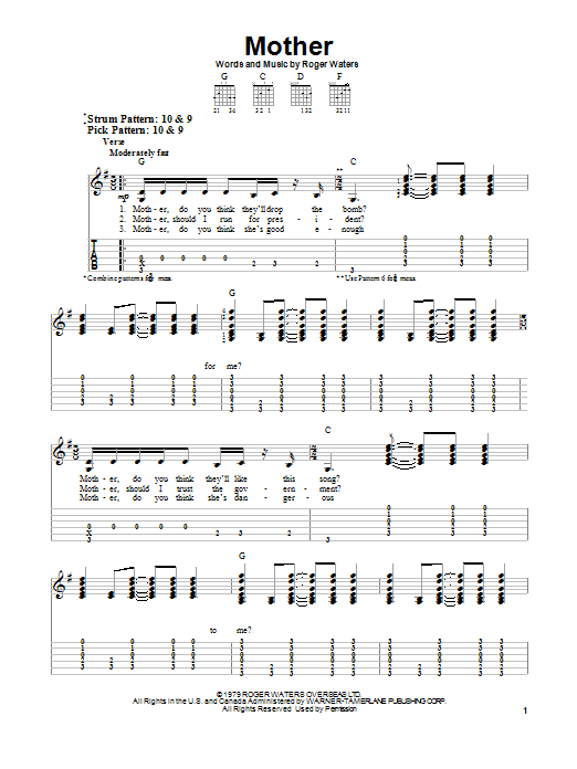 Mother By Pink Floyd Easy Guitar Tab Guitar Instructor