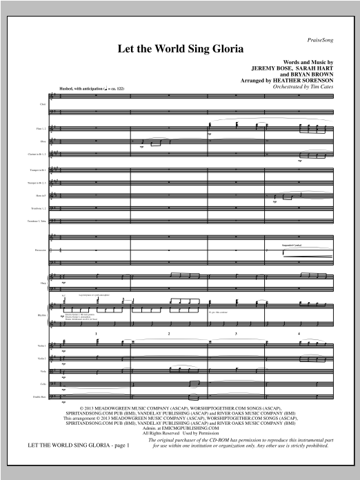 Let The World Sing Gloria - Full Score Sheet Music