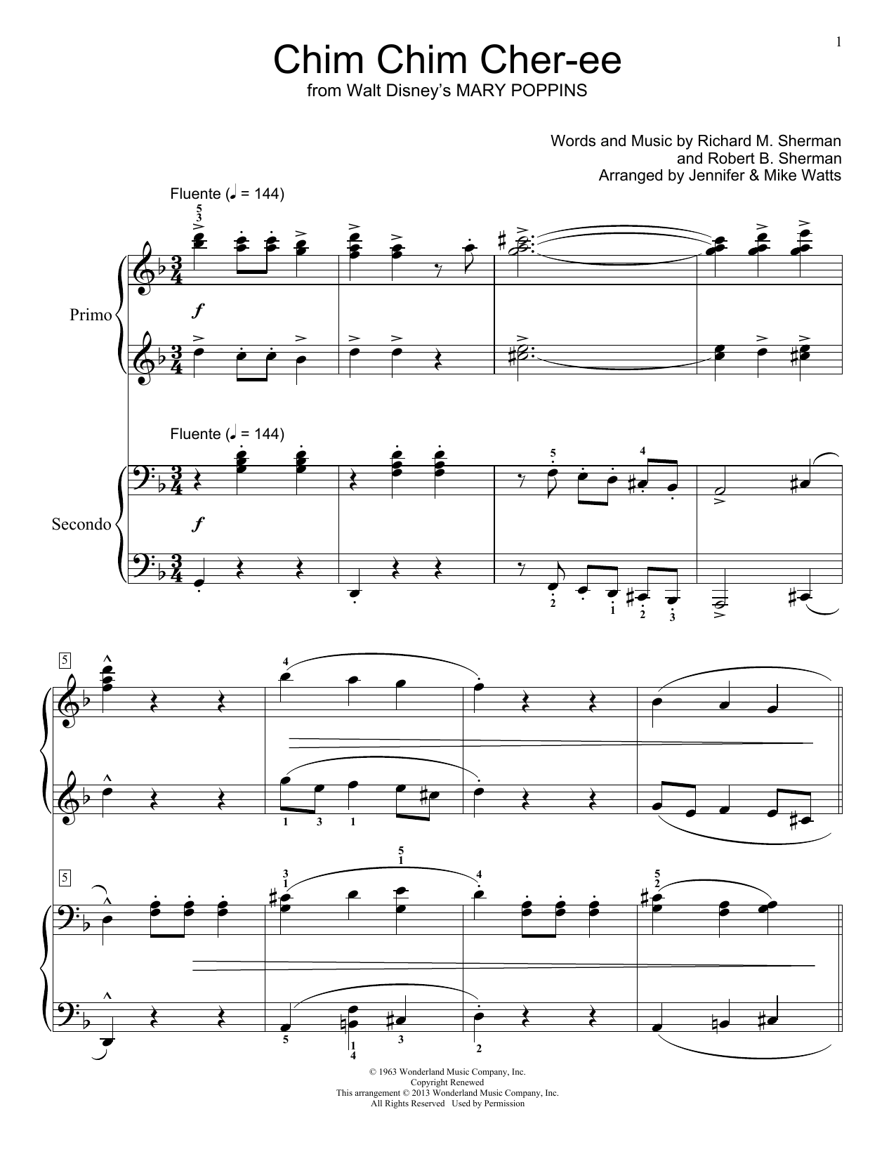 Partition piano Chim Chim Cher-ee de Robert B. Sherman - 4 mains
