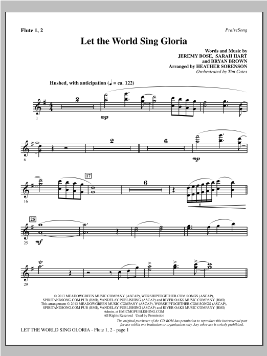 Let The World Sing Gloria - Flute 1 & 2 Sheet Music