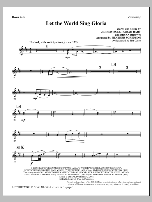 Let The World Sing Gloria - F Horn Sheet Music