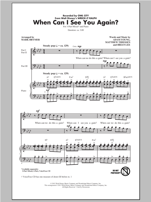 When Can I See You Again? (arr. Mark Brymer) Sheet Music