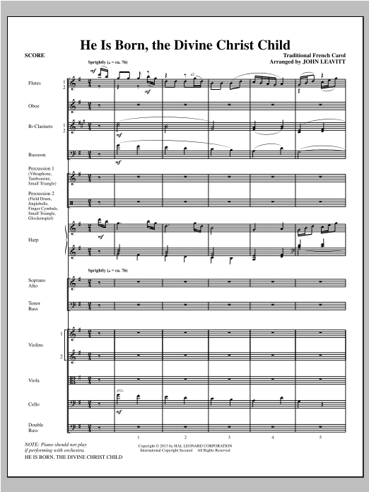 He Is Born, the Divine Christ Child (COMPLETE) sheet music for orchestra/band (chamber ensemble) by John Leavitt. Score Image Preview.