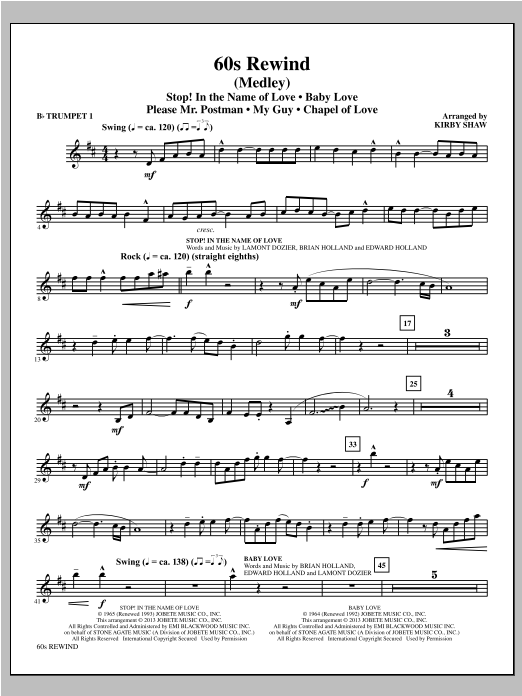 60s Rewind (complete set of parts) sheet music for orchestra/band by Kirby Shaw. Score Image Preview.