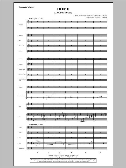 Home (The Arms of God) - Score Sheet Music