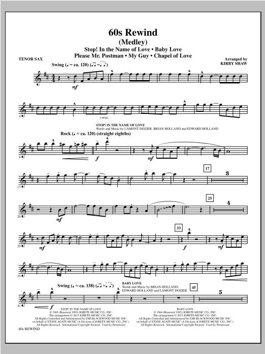 60s Rewind - Tenor Sax Sheet Music