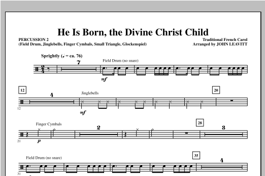 He Is Born, the Divine Christ Child - Percussion 2 Sheet Music