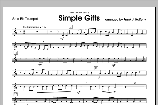 Simple Gifts - Trumpet Sheet Music