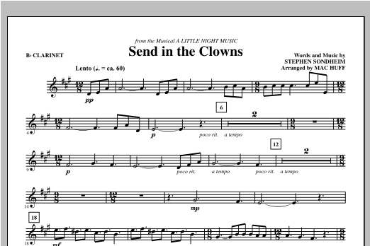 Send in the Clowns - Bb Clarinet Sheet Music