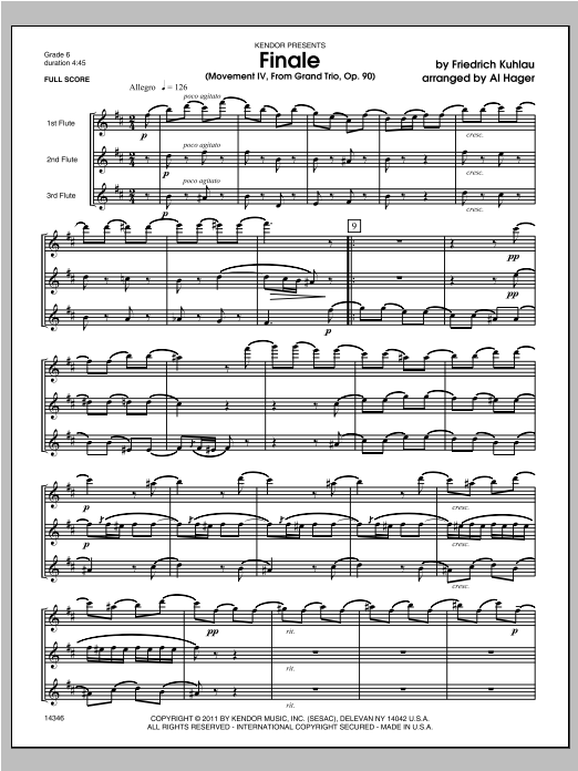 Finale (Movement IV, From Grand Trio, Op. 90) (COMPLETE) sheet music for flute trio by Hager and Friedrich Daniel Rudolf Kuhlau. Score Image Preview.