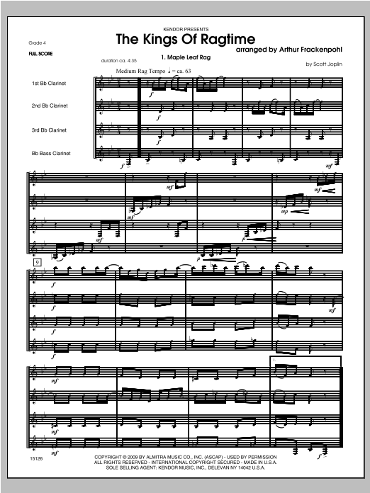 Kings Of Ragtime, The - Full Score Sheet Music
