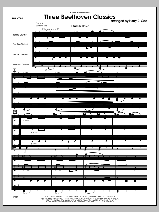 Three Beethoven Classics (COMPLETE) sheet music for clarinet quartet by Bee Gees and Ludwig van Beethoven. Score Image Preview.