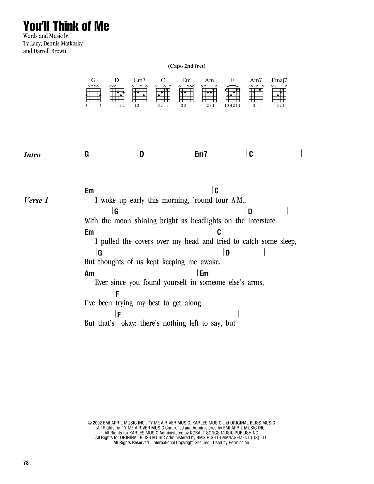 You'll Think Of Me Sheet Music