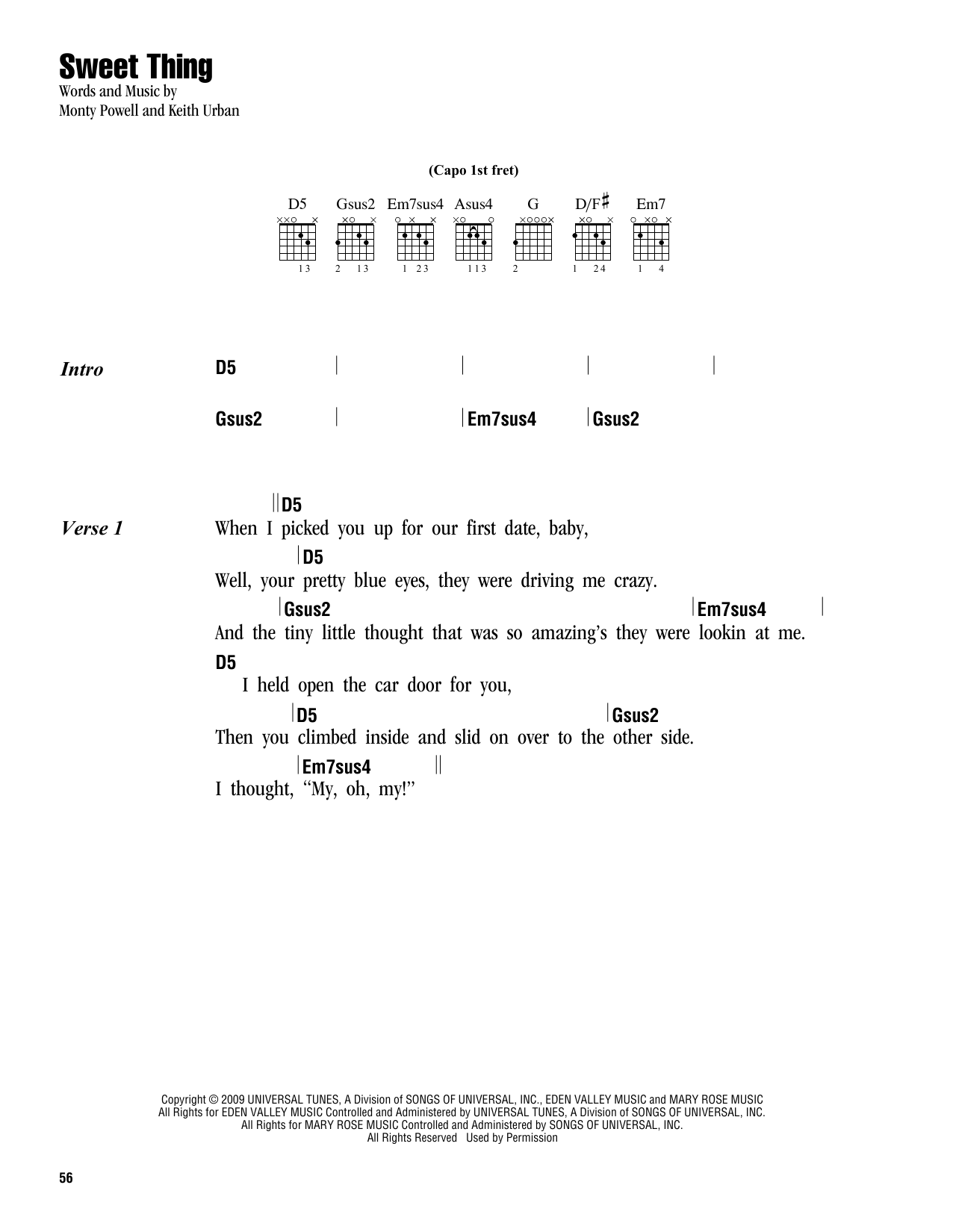 Sweet thing sheet music by keith urban lyrics chords 163286 keith urban sweet thing lyrics chords hexwebz Image collections