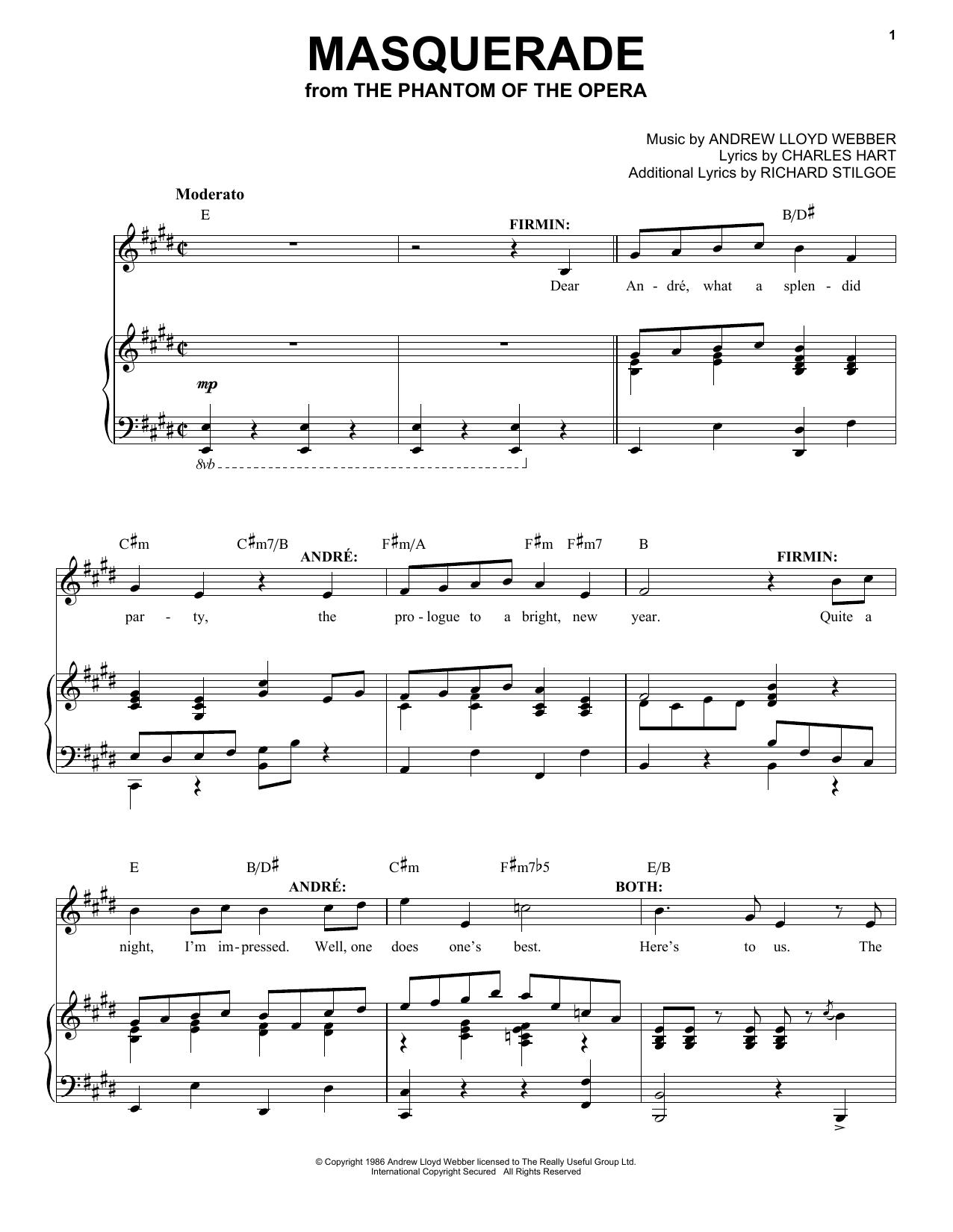 Partition piano Masquerade de Andrew Lloyd Webber - Piano Voix