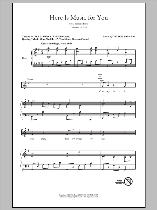Here Is Music For You Sheet Music