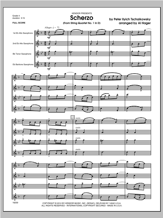 Scherzo (from String QuartetNo. 1 In D) (COMPLETE) sheet music for saxophone quartet by Hager and Pyotr Ilyich Tchaikovsky. Score Image Preview.