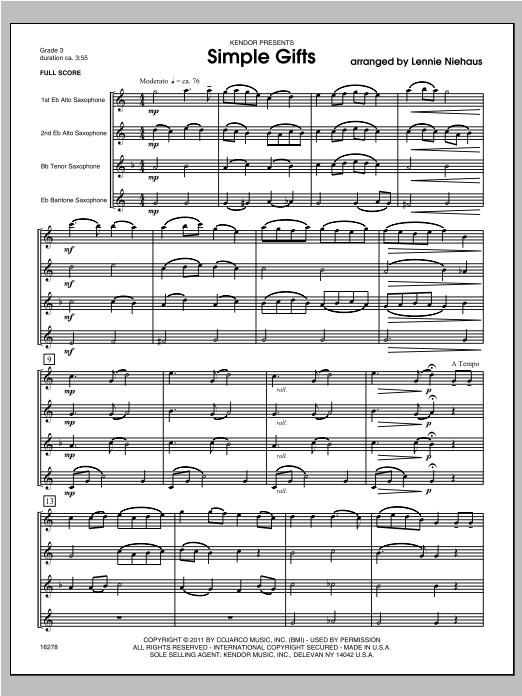 Simple Gifts - Full Score Sheet Music