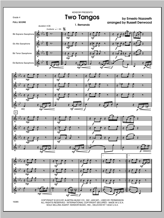 Two Tangos - Full Score Sheet Music