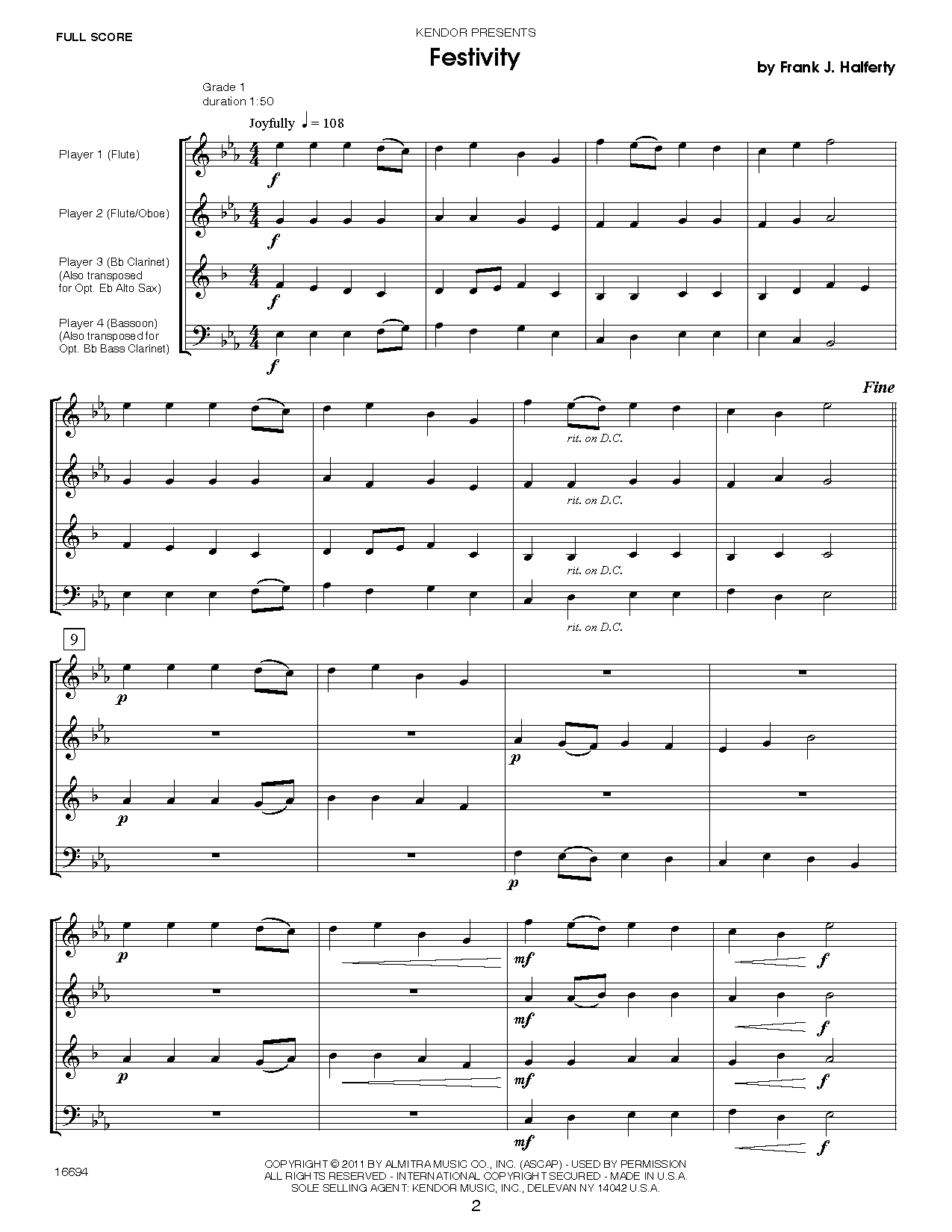 Musical Postcards (10 Woodwind Quartets From Around The World) - Full Score Sheet Music