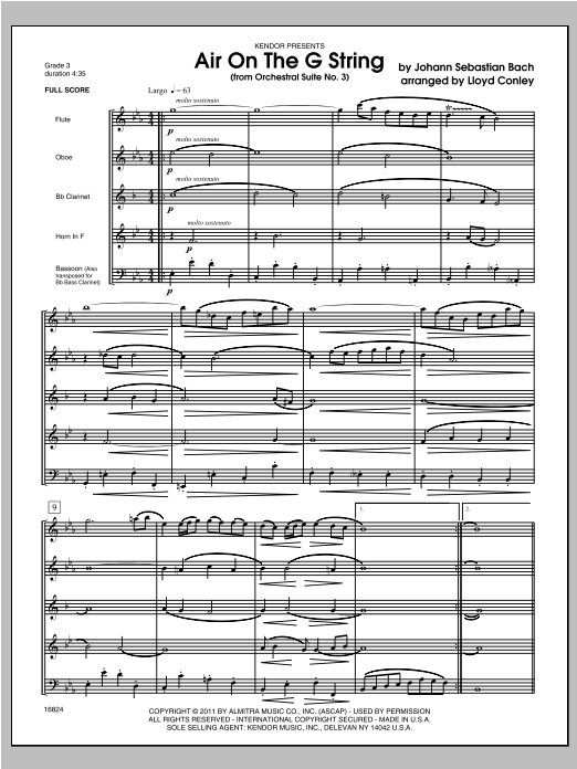 Air On The G String (from Orchestral Suite No. 3) - Full Score Sheet Music