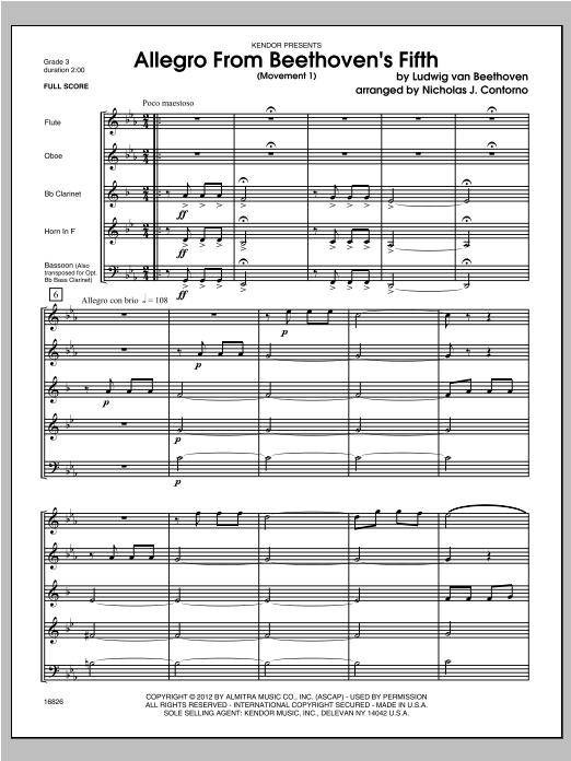 Allegro From Beethoven's Fifth (Movement 1) (COMPLETE) sheet music for wind quintet by Contorno and Ludwig van Beethoven. Score Image Preview.