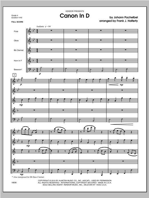 Canon In D - Full Score Sheet Music
