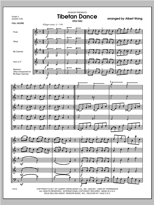 Tibetan Dance (Xiyi Ge) (COMPLETE) sheet music for wind quintet by Wang. Score Image Preview.