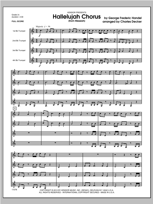 Hallelujah Chorus (from Messiah) (COMPLETE) sheet music for four trumpets by Decker and George Frideric Handel. Score Image Preview.