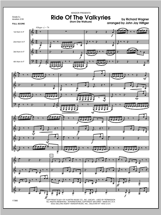 Ride Of The Valkyries (from Die Walkure) (COMPLETE) sheet music for four horns by Hilfiger and Richard Wagner. Score Image Preview.