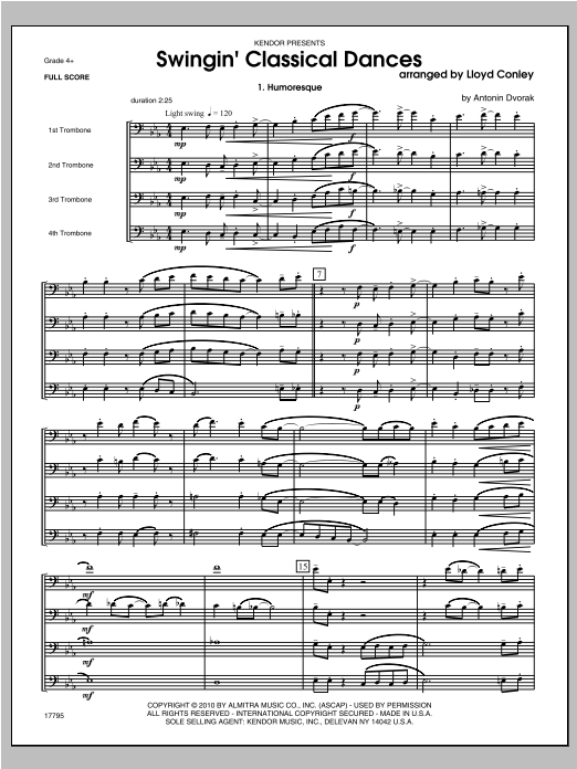 Swingin; Classical Dances (COMPLETE) sheet music for four trombones by Conley. Score Image Preview.
