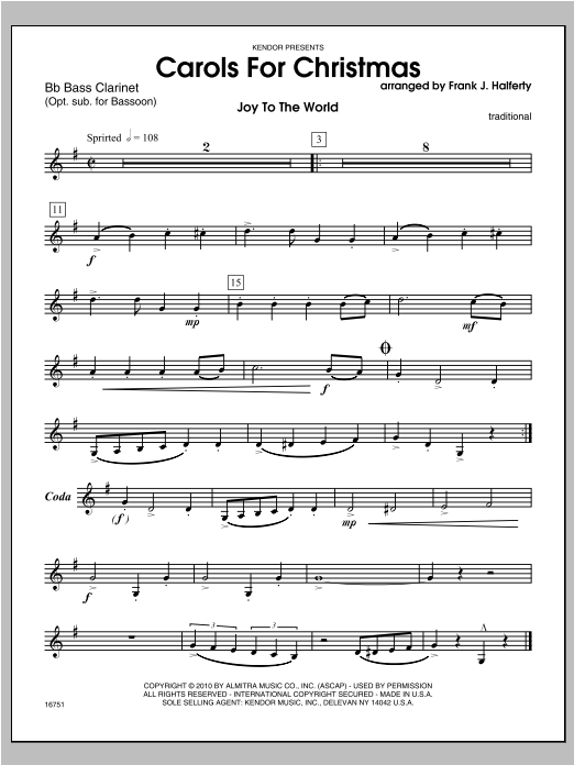 Carols for Christmas - Bass Clarinet Sheet Music