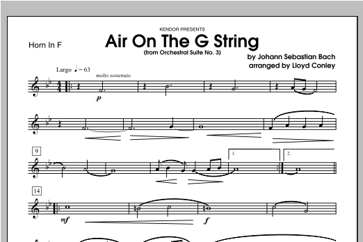 Air On The G String (from Orchestral Suite No. 3) - Horn Sheet Music