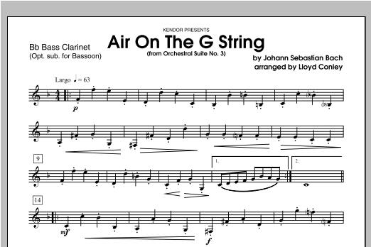 Air On The G String (from Orchestral Suite No. 3) - Bass Clarinet Sheet Music