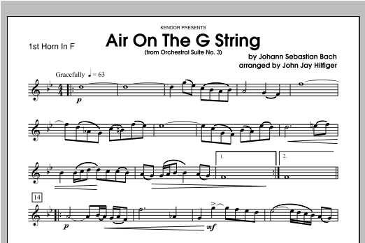 Air On The G String (from Orchestral Suite No. 3) - Horn 1 in F Sheet Music
