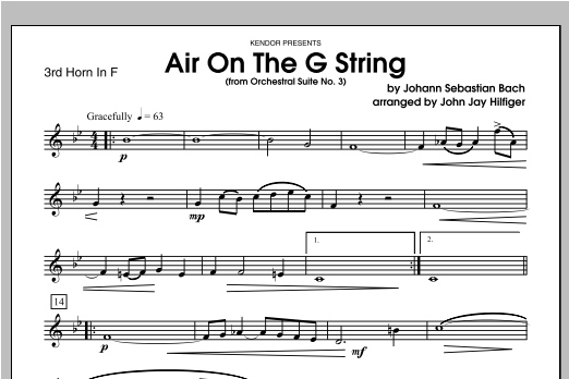 Air On The G String (from Orchestral Suite No. 3) - Horn 3 in F Sheet Music