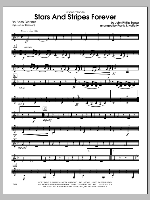 Stars And Stripes Forever - Bass Clarinet Sheet Music