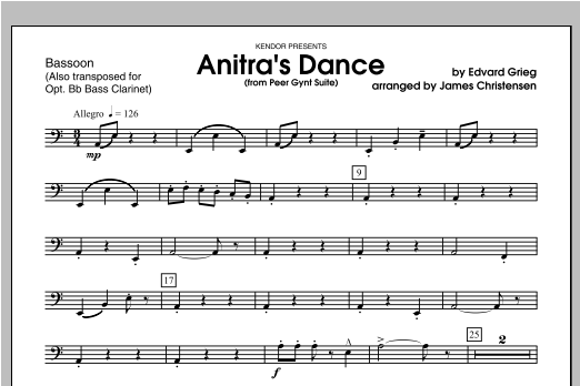 Anitra's Dance (from Peer Gynt Suite) - Bassoon Sheet Music