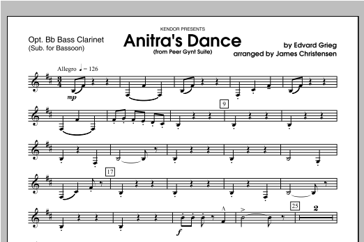 Anitra's Dance (from Peer Gynt Suite) - Bass Clarinet Sheet Music