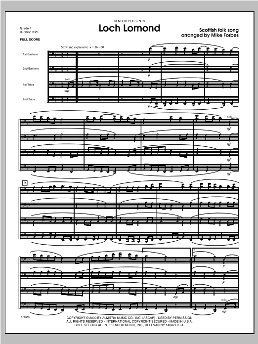 Loch Lomond (COMPLETE) sheet music for brass quartet by Forbes. Score Image Preview.