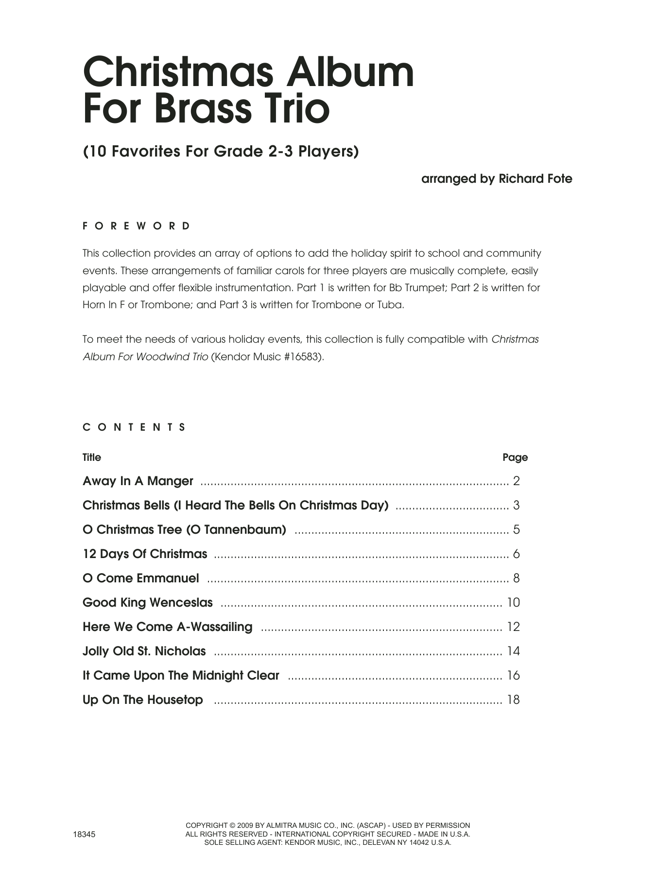 Christmas Album For Brass Trio (COMPLETE) sheet music for brass trio by Fote. Score Image Preview.