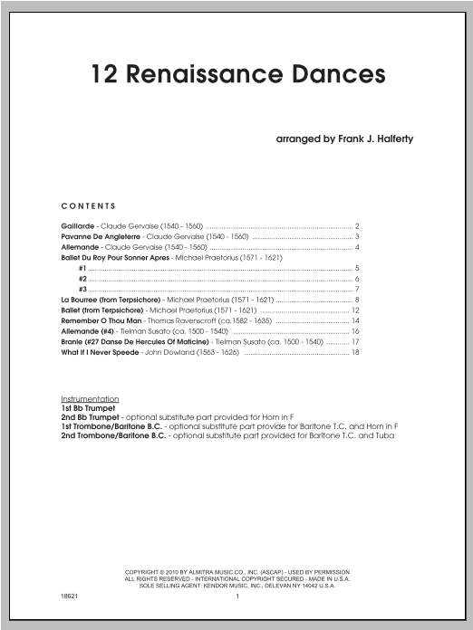 12 Renaissance Dances - Full Score Partition Digitale