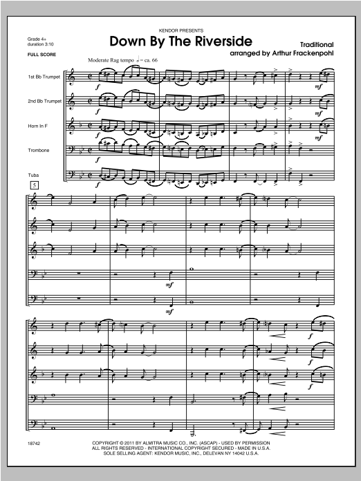 Down by the Riverside (COMPLETE) sheet music for brass quintet by Steve Frackenpohl. Score Image Preview.