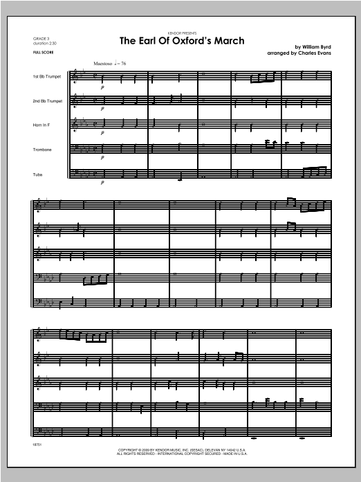 Earl Of Oxford's March, The - Full Score Sheet Music