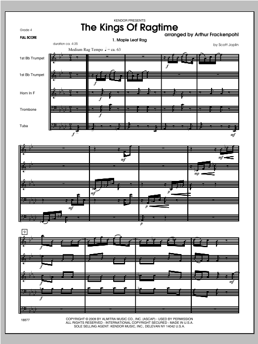 Kings Of Ragtime, The (COMPLETE) sheet music for brass quintet by Arthur Frackenpohl. Score Image Preview.