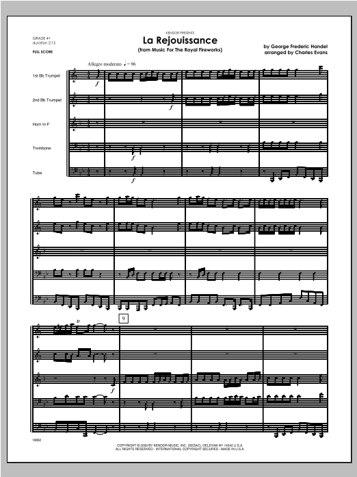 La Rejouissance (from Music For The Royal Fireworks) - Full Score Sheet Music