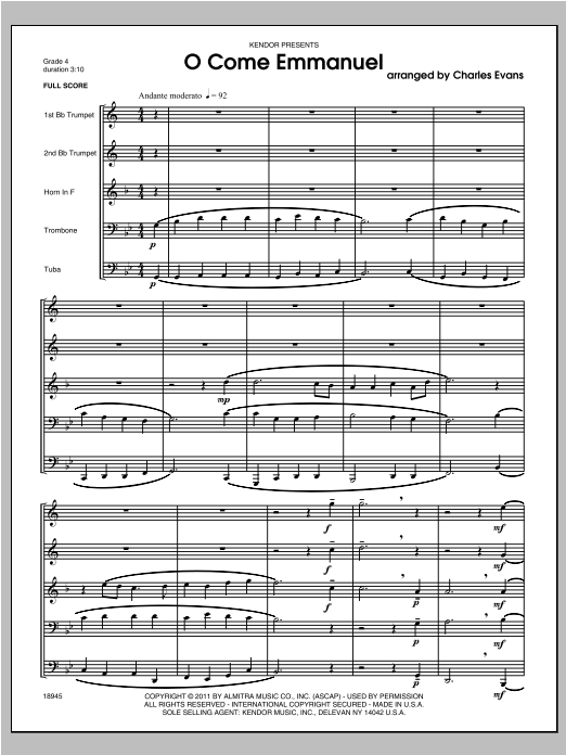 O Come Emmanuel - Full Score Sheet Music